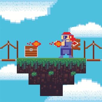 Arma de tiro de guerreiro de videogame em cena pixelizada