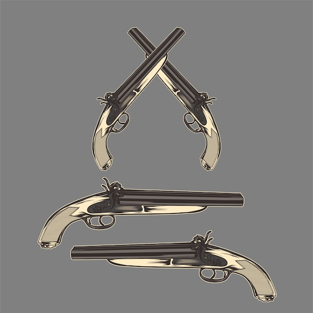 Arma desenho vintage clássico mão vector
