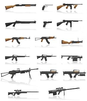 Arma e arma conjunto ilustração vetorial de coleção