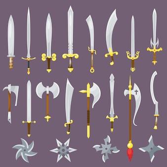 Arma medieval de espada de cavaleiro com lâmina afiada e conjunto de facas de piratas