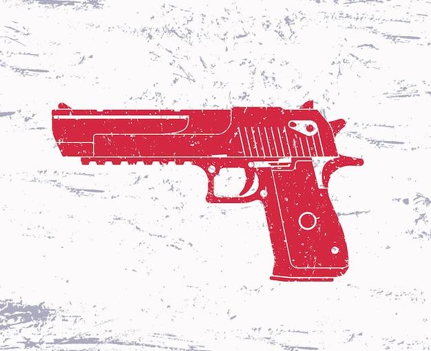 Arma, pistola poderosa, em fundo grunge