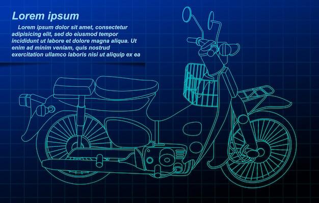 Armação de arame de motocicleta.