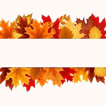 Armação de borda de folhas de outono caindo