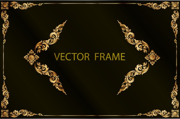 Armação de borda de ouro com linha de canto floral para foto