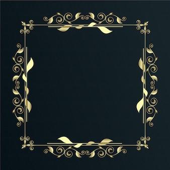 Armação de borda ornamental dourada