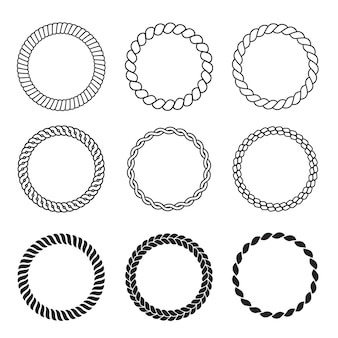 Armação de corda redonda. o círculo do cabo molda a coleção de vetores de cordas vintage decorativas de força. ilustração de fio de cabo, cordão ou corda forte