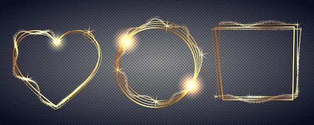 Armação de metal dourado. molduras douradas. bordas quadradas, redondas, ovais e realistas luxuosas, bordas retangulares. ilustração vetorial