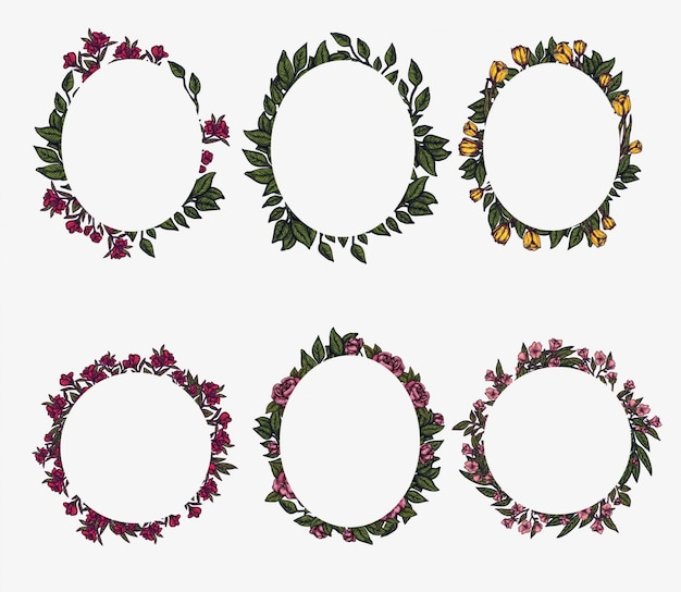 Armações de borda floral. composição de folhagem de primavera, arranjo de círculo de grinalda de flores. elemento de design gráfico. modelo de convite