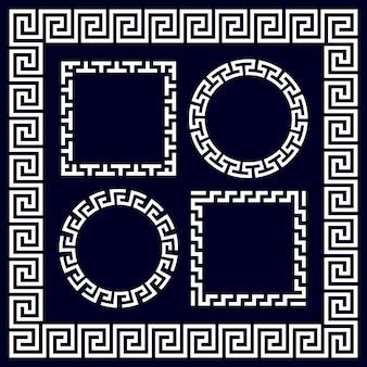 Armações de borda redonda e retangular gregas antigas