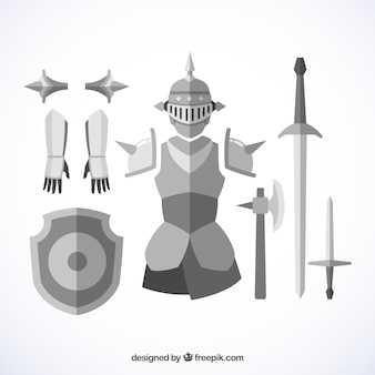 Armadura e espadas medievais com design plano