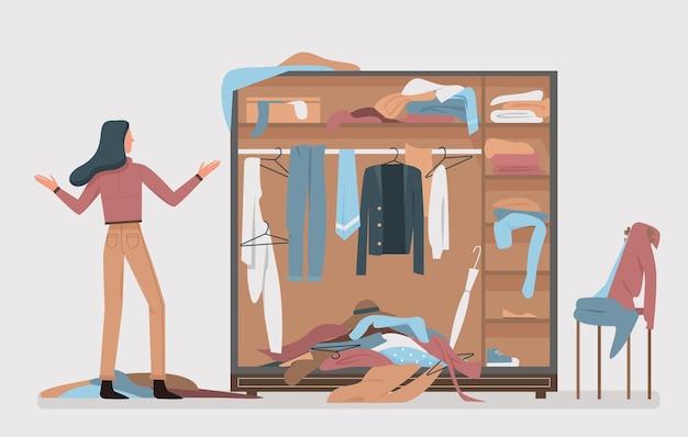 Armário bagunçado, ilustração vetorial de interiores de quarto de vestir em casa.