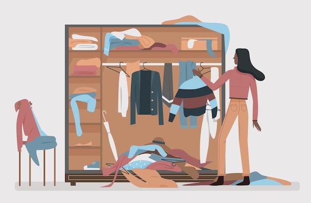 Armário bagunçado, interior de quarto de vestir com mulher de desenho