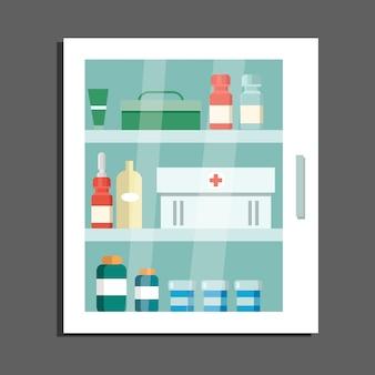 Armário com ilustração de medicamentos