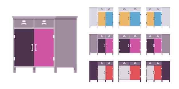 Armário de cozinha com gavetas e portas