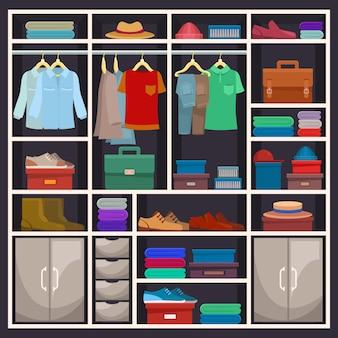Armário de homem ou guarda-roupa masculina com pano