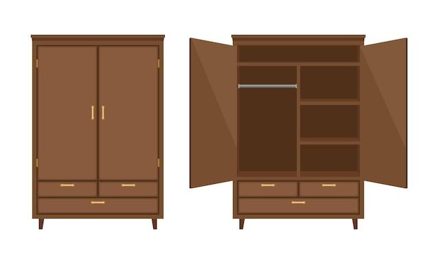 Armário de madeira aberto e fechado