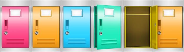 Armário de metal com armários com compartimentos coloridos