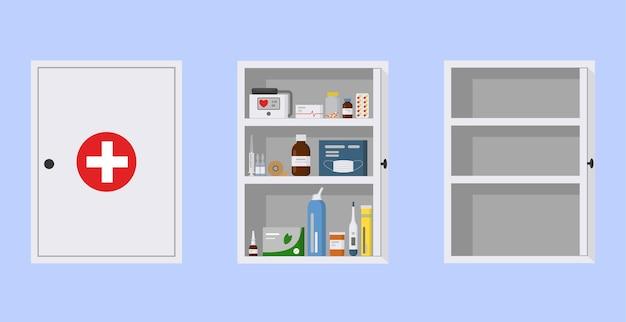 Armário de remédios com porta aberta e fechada. armário médico vazio e cheio, ilustração vetorial plana. kit de primeiros socorros branco sobre fundo azul