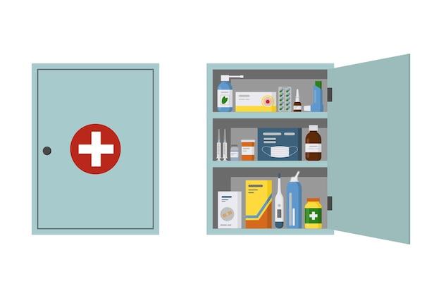 Armário de remédios com porta aberta e fechada ilustração vetorial plana de caixa de parede de primeiros socorros isolada