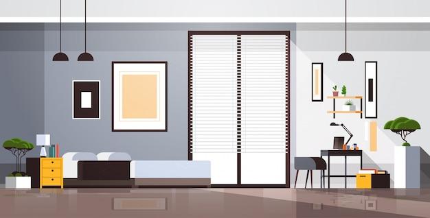 Armário do local de trabalho no quarto vazio sem pessoas apartamento interior quarto com mobília horizontal