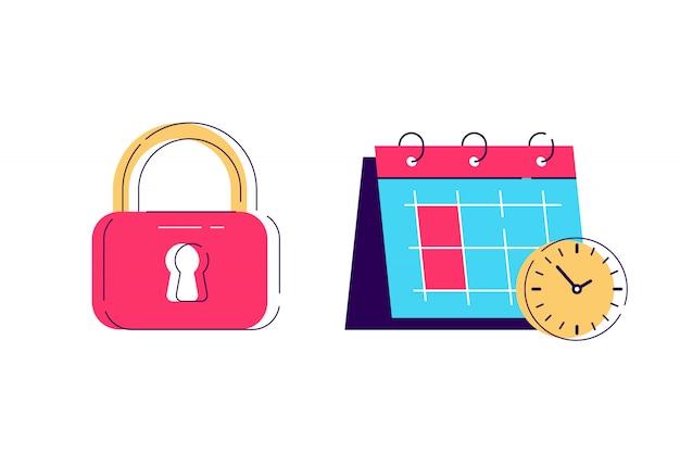 Armário e calendário tempo ícone, símbolo de cadeado. ícone de privacidade e senha de ilustração de fechadura com chave. conceito de negócio simples