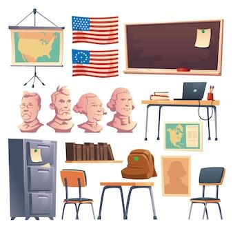 Armário escolar de história, móveis de interior e outras coisas.