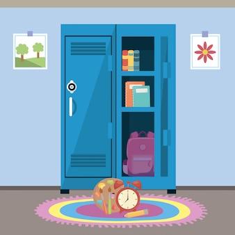 Armário escolar e suprimentos