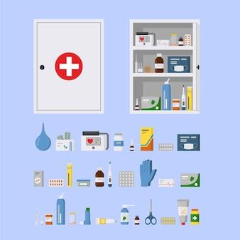 Armário médico vazio de metal vazio de caixa de remédios aberto e fechado ilustração em vetor plana