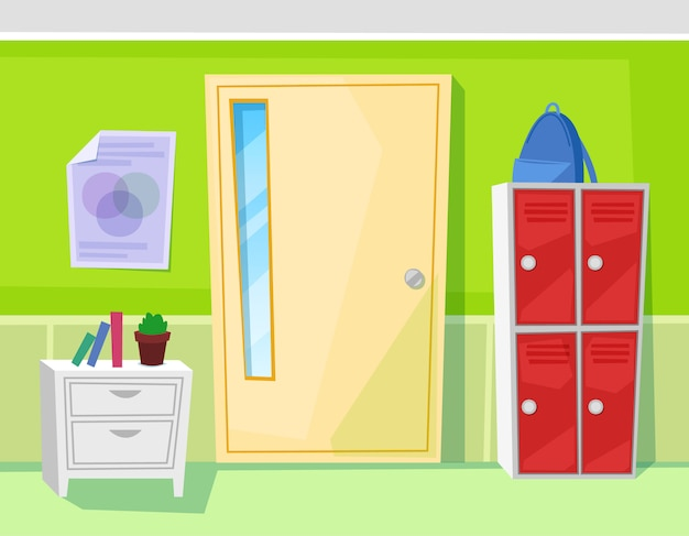 Armários e portas interiores da sala de aula da escola