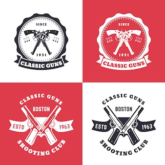 Armas clássicas, emblemas vintage, distintivos com revólveres cruzados
