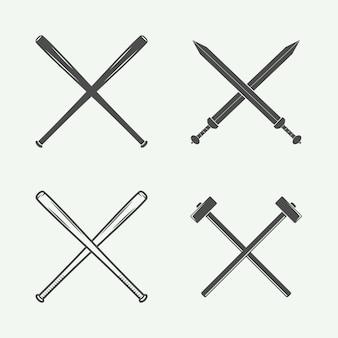 Armas cruzadas em estilo retro