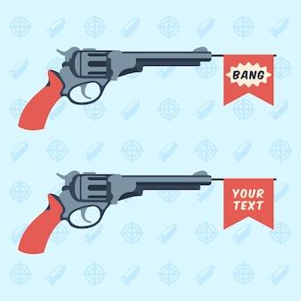 Armas de brinquedo com bang e bandeiras vazias