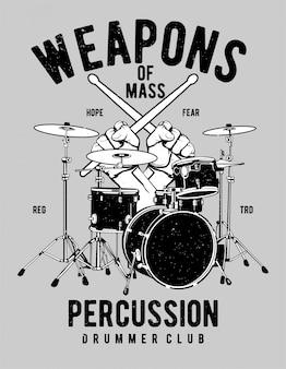 Armas de design de ilustração de percussão de massa