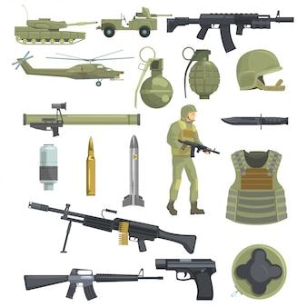 Armas de forças de infantaria do exército profissional, transporte e equipamento de soldado conjunto de objetos realistas na cor caqui