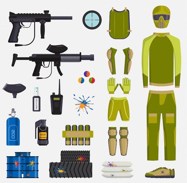 Armas de vetor de jogo de paintball e jogador, uniforme de proteção e acessórios para jogo de paintball