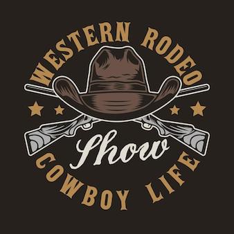Armas do faroeste e chapéu de cowboy