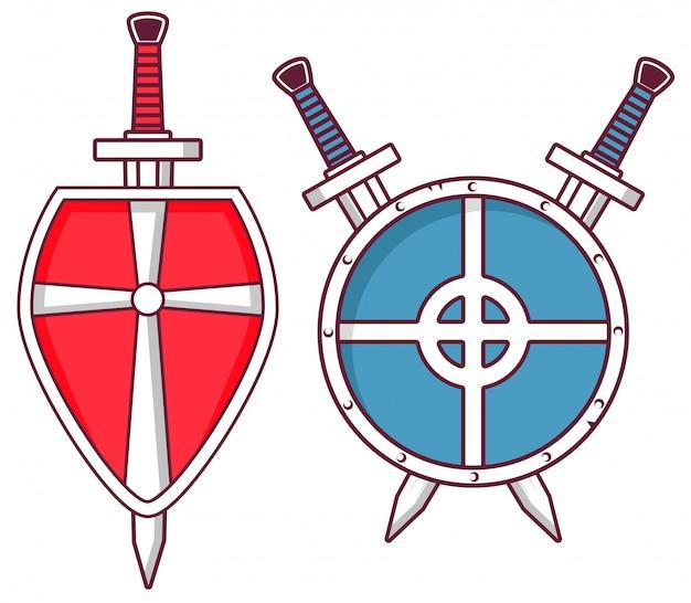 Armas e armaduras medievais escudo cruzado espadas.