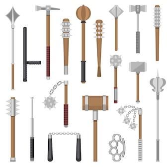 Armas medievais, guerreiro de proteção antiga e martelo de metal antigo