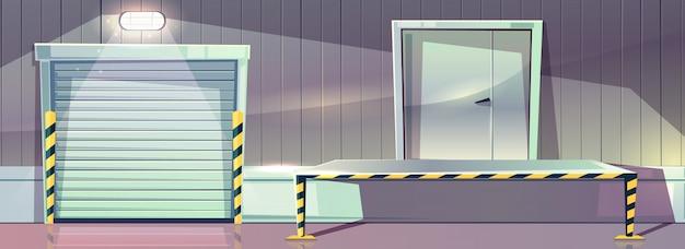 Armazém com a porta de entrada do obturador do rolo e a plataforma da doca de descarregamento. vetorial, ilustração, de, stor
