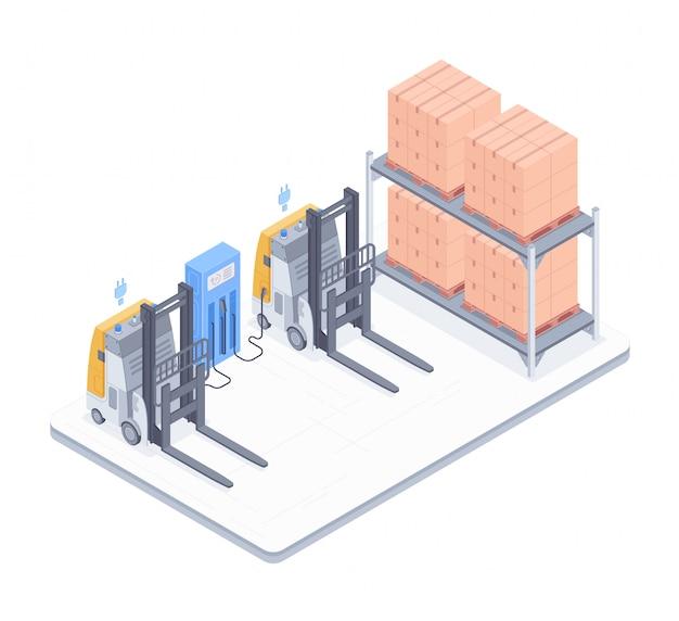 Armazém com ilustração isométrica de empilhadeiras