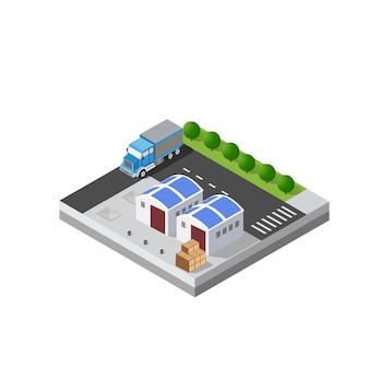 Armazém de logística de transporte isométrico