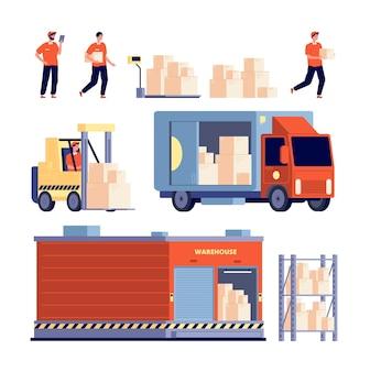 Armazém. descarregamento de estoque de caminhão de entrega isolado, transporte. transporte de carga
