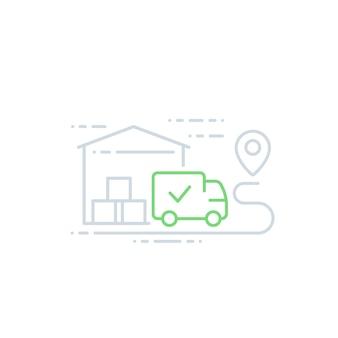 Armazém e van, ícone de entrega, arte de linha