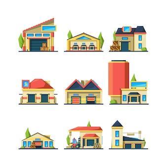 Armazém. edifícios industriais esvaziam casas da fábrica de construção para pacotes e itens diferentes