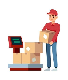 Armazém. homem coloca caixas em balanças em escritórios de indústria, conceito de vetor isolado de serviços de entrega e descarga