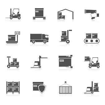 Armazém ícones preto