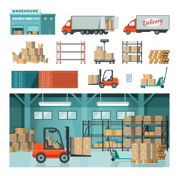 Armazém industrial logístico no transporte de armazenamento isolado na ilustração desenhada branca.