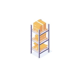 Armazém isométrico caixas de equipamentos, paletes de prateleiras e ilustração de prateleiras