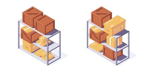 Armazém isométrico de madeira e caixas de papelão paletes e ilustração de prateleiras
