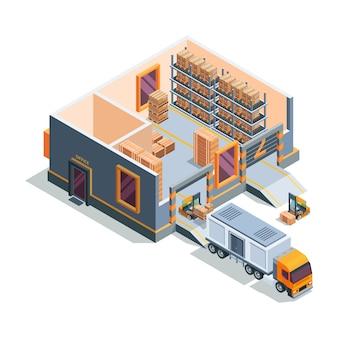 Armazém isométrico. grande armazém de máquinas de armazenamento, transporte de empilhadeira e seção transversal de construção de armazém de caminhão de carregamento